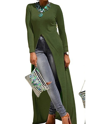 voordelige Maxi-jurken-Dames Slank Wijd uitlopend Overhemd Jurk Maxi