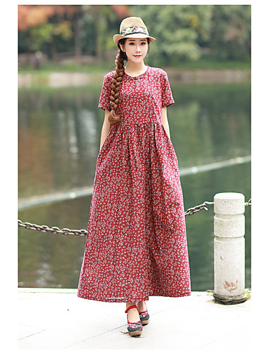b8447b7ee49 Casual Dress A-Line Jewel Neck Ankle Length Chiffon Dress with Pattern    Print by LAN TING Express