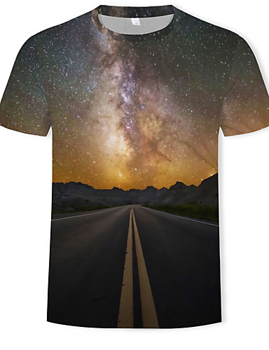 47ebb0df8330 Ανδρικά T-shirt Γαλαξίας   Συνδυασμός Χρωμάτων   3D Στάμπα Καφέ XL