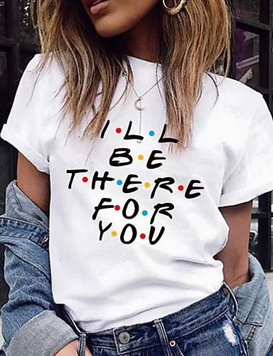 billige Dametopper-T-skjorte Dame - Bokstaver, Trykt mønster Hvit L