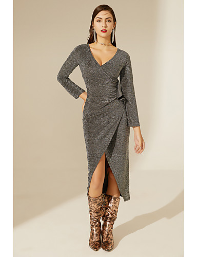 cheap TS@ Clothing-TS@ Women's Basic Bodycon Sheath Dress - Solid Colored Silver One-Size