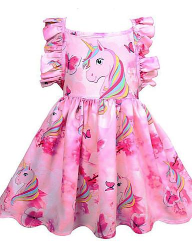 billige Unicorn Dresses-Barn Jente søt stil Ut på byen Unicorn Regnbue Ermeløs Knelang Kjole Rosa