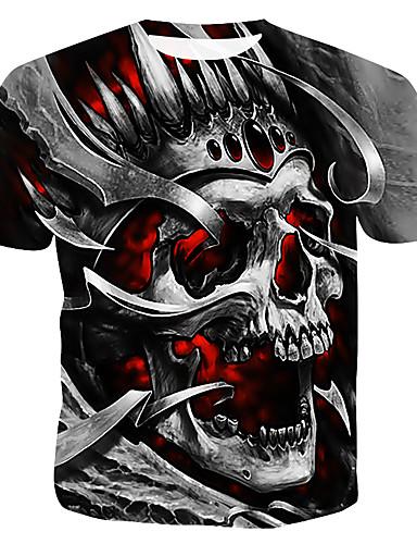 voordelige Herenbovenkleding-Heren T-shirt 3D / Doodskoppen Grijs