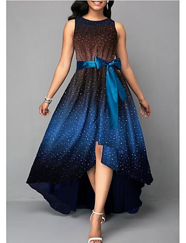 cheap 5/23-Women's Elegant Asymmetrical Swing Dress - Polka Dot Blue Green Orange XXXL XXXXL XXXXXL