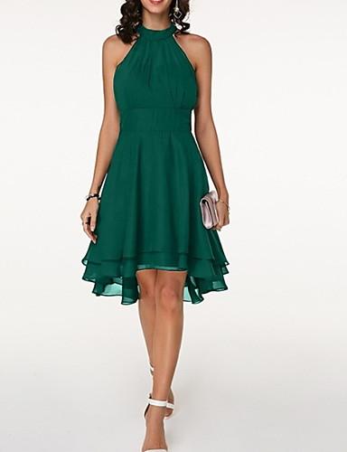 hesapli Mini Elbiseler-Kadın's Büyük Bedenler İnce Şifon Elbise Diz-boyu