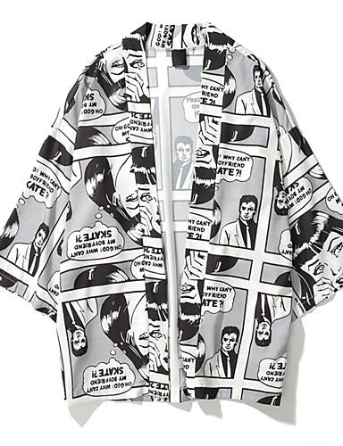 1bf9b843d2 baratos Camisas Masculinas-Homens Camisa Social Desenho Animado Branco L