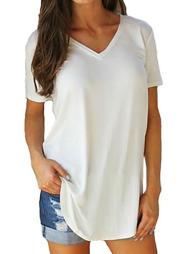 billiga Damöverdelar-Enfärgad Plusstorlekar Bomull T-shirt Dam V-hals Fuchsia