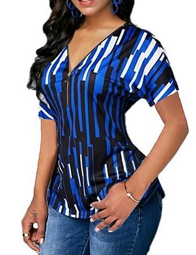 billige Dametopper-Tynn V-hals Store størrelser T-skjorte Dame - Stripet Grønn