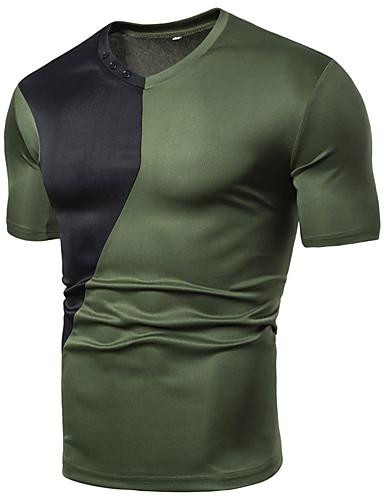 voordelige Herenoverhemden-Heren Standaard Patchwork EU / VS maat - T-shirt Sport Effen / Kleurenblok V-hals Zwart / Korte mouw