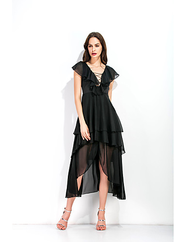 94d71c4bb1b Casual Dress A-Line Plunging Neck Asymmetrical Chiffon Dress with Tier by LAN  TING Express 7264160 2019 –  26.99