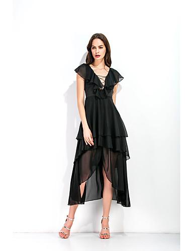 Χαμηλού Κόστους Φορέματα Ξεχωριστών Γεγονότων-Γραμμή Α Βυθίζοντας το λαιμό Ασύμμετρο Σιφόν Φόρεμα με Βαθμίδες με LAN TING Express