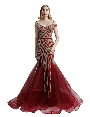cheap Designers' Originals-Mermaid / Trumpet Spaghetti Strap Sweep / Brush Train Tulle Dress with Crystals by JUDY&JULIA