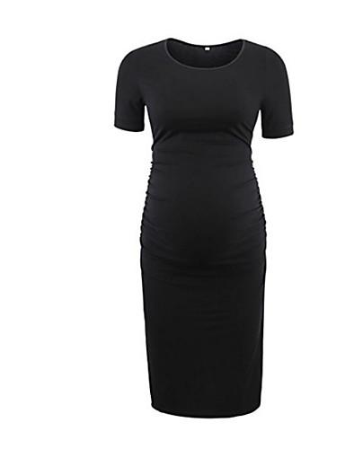 cheap Maternity Dresses-Women's Maternity Knee-length Sheath Dress Gray Army Green Royal Blue M L XL