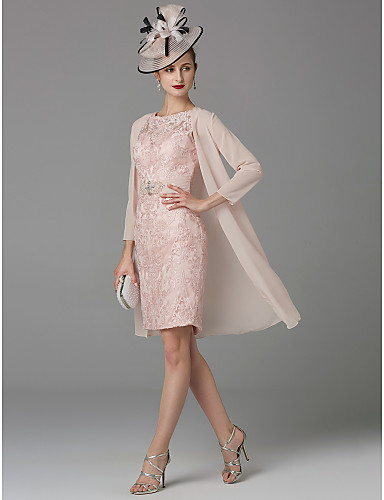 4c9e773b93 cheap Mother of the Bride Dresses-Sheath   Column   Two Piece Jewel Neck  Knee