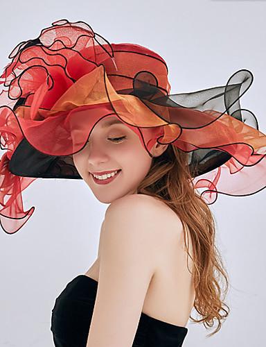 billige Damehatte-Dame Fest Sød Stil Blød Hat Solhat-Chiffon Blondelukning Blomstret Alle årstider Rød Lyserød Rosa
