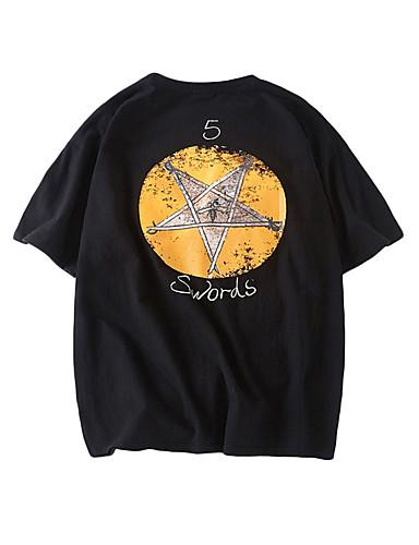 T-shirt - Taglie UE / USA Per uomo Fantasia geometrica Rotonda Bianco L