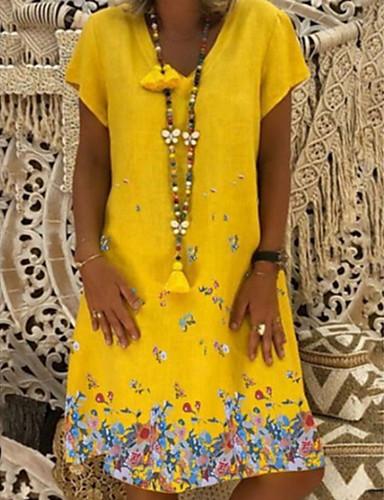 رخيصةأون فساتين مطبوعة-فستان نسائي كلاسيكي عصري أساسي طباعة - قطن فوق الركبة فضفاض هندسي V رقبة