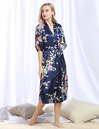 رخيصةأون القمصان وملابس النوم-نسائي قياس كبير مثير ثوب / ساتان و حرير ملابس نوم - شريطة / محاك بربطات / طباعة ورد / ألوان متناوبة أزرق فاتح لون الجمل أزرق فاتح XL XXL XXXL / V رقبة