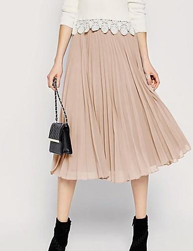 kvinders midi swing nederdele - solidfarvet