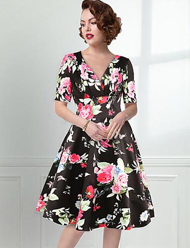 087394148eda Γυναικεία Βίντατζ Βασικό Swing Πλεκτά Φόρεμα - Φλοράλ Ως το Γόνατο Λαιμόκοψη  V