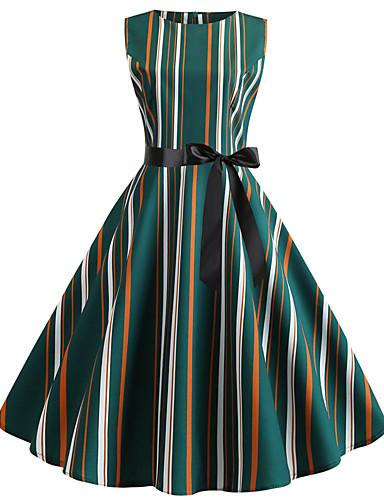 billige Kjoler-Dame Gatemote Elegant Swing Kjole - Stripet, Trykt mønster Knelang