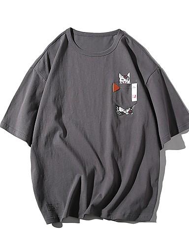 abordables Ropa de Hombre-Hombre Talla EU / US Estampado - Algodón Camiseta, Escote Redondo Animal / Caricatura Blanco 36
