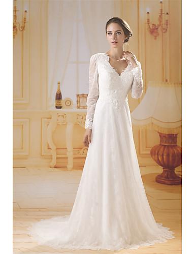 b8bd444a1b Szűk szabású V-alakú Seprő uszály Csipke / Tüll Made-to-measure esküvői  ruhák val vel Csipke által ANGELAG