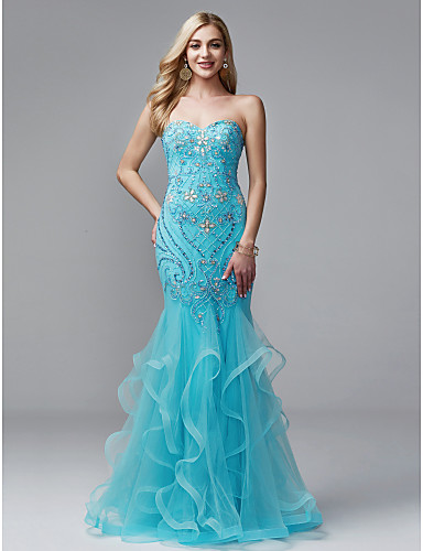 87962e14c48d5 حورية البحر شق الصدر طول الأرض تول   جورسيه حفلة رسمية فستان مع حصى   كشاكش بواسطة  TS Couture®