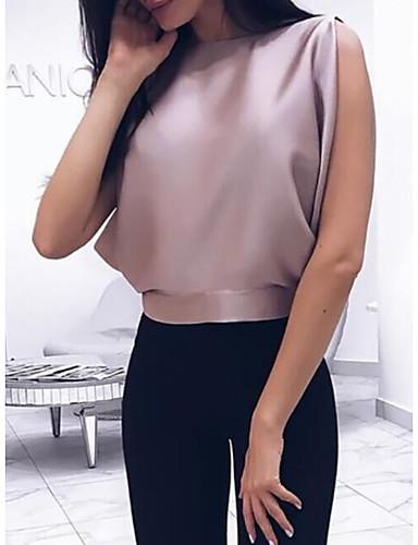 povoljno Ženske majice-Majica s rukavima Žene Dnevni Nosite Jednobojni Šupalj Blushing Pink / Proljeće / Ljeto / Jesen / Zima