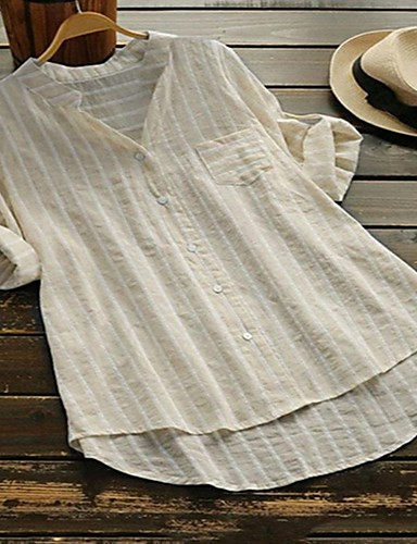 billige Dametopper-V-hals Skjorte Dame - Stripet, Lapper / Jacquard Beige