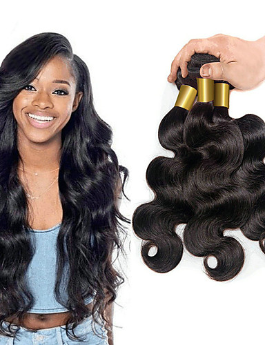 billige Udsalg-3 pakker Brasiliansk hår Krop Bølge 10A Ubehandlet hår Menneskehår Vevet Hairextensions med menneskehår 8-28 tommers Naturlig Farge Hårvever med menneskehår Til fargede kvinner 8a Shedding Free