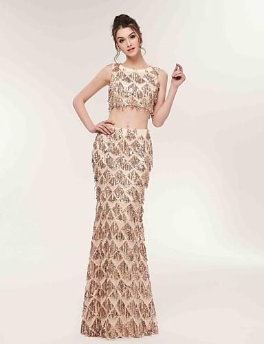 billige Todelte kjoler-Tube / kolonne / Todelt Besmykket Gulvlang Blonder / Sateng Kjole med av LAN TING Express