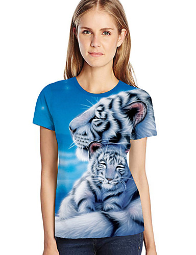 billige Dametopper-Løstsittende Store størrelser T-skjorte Dame - 3D / Dyr / Tegneserie, Trykt mønster Lyseblå XXXXL