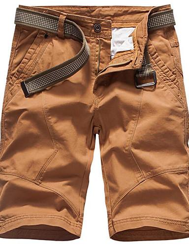 billige Herrebukser og -shorts-Herre Grunnleggende Tynn Shorts Bukser - Ensfarget Bomull Mørkegrå Militærgrønn Lyseblå 34 36 38