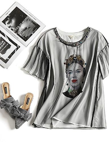 billige Dametopper-T-skjorte Dame - Grafisk / Portrett, Netting Hvit