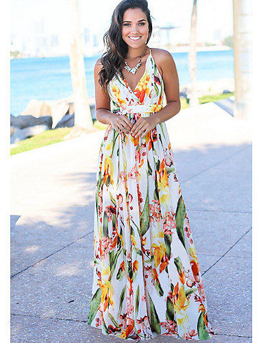 cheap Maxi Dresses-Women's Floral Beach Boho Swing Dress - Floral Print Summer Red Yellow Light Blue L XL XXL