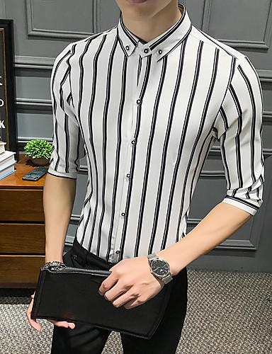 billige Overdele til herrer-Herre - Stribet Basale Skjorte Hvid XL
