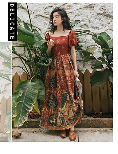 6c581bdac67 Γυναικεία Μπόχο Κομψό Swing Φόρεμα - Καρό, Εξώπλατο Patchwork Στάμπα Μίντι