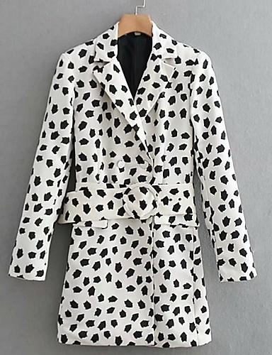 abordables Manteaux & Vestes Femme-Femme Blazer Revers en Pointe Polyester Blanc S / M / L