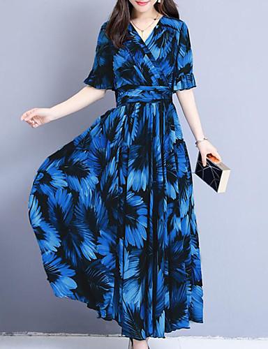 fb7ebdcd7d4 Γυναικεία Κομψό στυλ street Εκλεπτυσμένο Σε γραμμή Α Swing Φόρεμα - Φλοράλ Καρό  Μακρύ