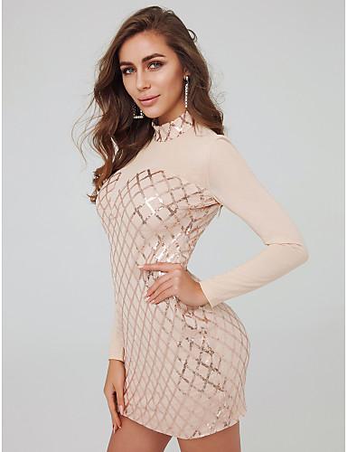 저렴한 홀리데이 드레스-시스 / 칼럼 하이 넥 숏 / 미니 튤 / 스팽글 See Through 칵테일 파티 드레스 와 스팽글 으로 TS Couture® / 일루젼
