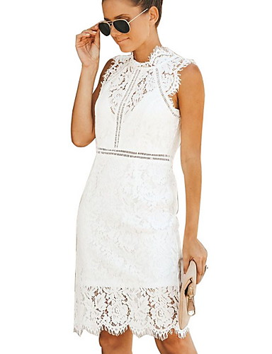 cheap Women's Dresses-Women's Basic A Line Dress - Solid Colored Lace White Black M L XL