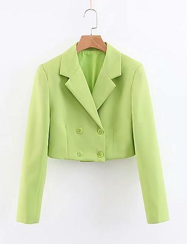 abordables Manteaux & Vestes Femme-Femme Blazer, Couleur Pleine Revers en Pointe Polyester Vert Claire S / M / L