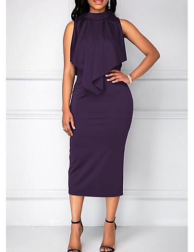 bb8f3933e12e levne Dámské šaty-dámské midi slim plášť šaty fialové černé modré s m l xl