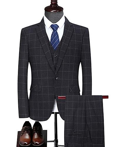 voordelige Herenblazers & kostuums-Heren Pakken, Ruitjes Ingesneden revers Polyester Zwart / Slank