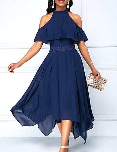 povoljno Plave haljine-Žene Swing kroj Haljina Jednobojni Na vezanje oko vrata Asimetričan