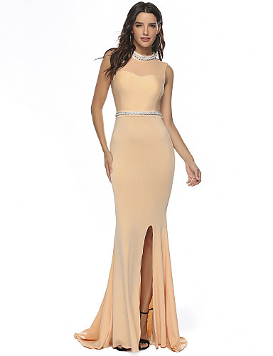 cheap Evening Dresses-Mermaid / Trumpet Jewel Neck Sweep / Brush Train Stretch Satin Formal Evening Dress with Crystals / Split Front by LAN TING Express