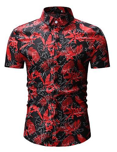 abordables Camisas de Hombre-Hombre Básico Camisa, Cuello Inglés Árboles / Hojas Negro XL / Manga Corta / Verano