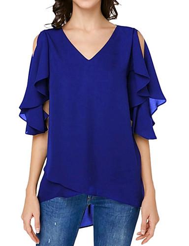Χαμηλού Κόστους Γυναικεία Ρούχα-Γυναικεία Μεγάλα Μεγέθη Μπλούζα Βασικό Μονόχρωμο Λαιμόκοψη V Ρουμπίνι XXXL