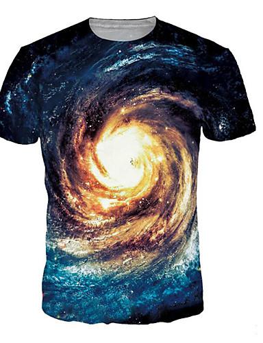 voordelige Herenbovenkleding-Heren Print T-shirt Heelal / 3D / Grafisch blauw